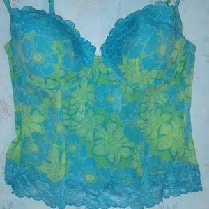 La SENZA blue/green floral bustier size large